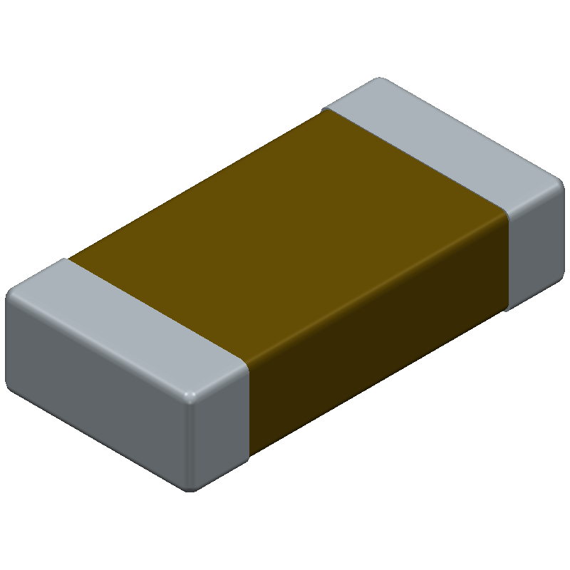 AVX 1206DD106KAT2A (Capacitor Chip Non-polarised) 3D model isometric projection.