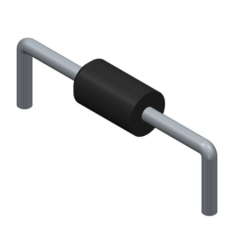 ON Semiconductor UF4007 (Diodes, Axial Diameter Horizontal Mounting) 3D model isometric projection.