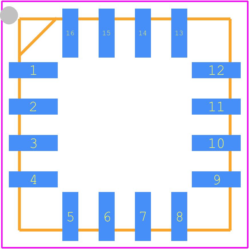HMC1053 - Honeywell PCB footprint - Quad Flat No-Lead - HMC1053