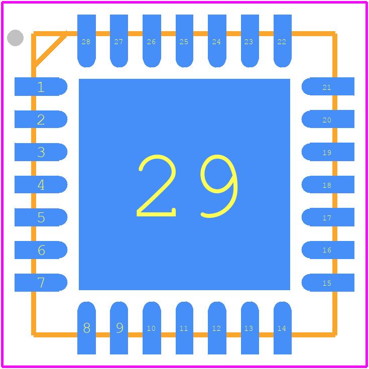 PIC18F27K42-I/ML - Microchip PCB footprint - Quad Flat No-Lead - (ML) 28-Lead 6x6mm [QFN]