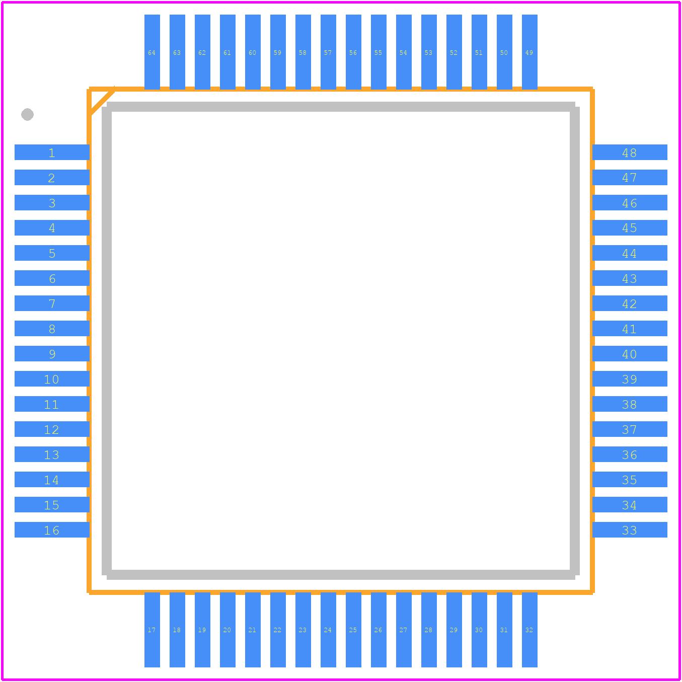 PIC18F67K22-I/PTRSL - Microchip PCB footprint - Quad Flat Packages - (PT)64-Lead(TQFP)