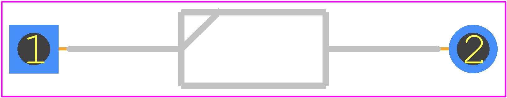 1N4002 - Fairchild Semiconductor PCB footprint - Diodes, Axial Diameter Horizontal Mounting - DO41A