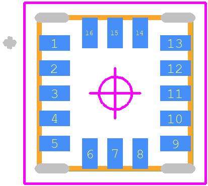 LIS3DHTR - STMicroelectronics PCB footprint - Pull-back Quad Flat No-lead - LGA-16_2