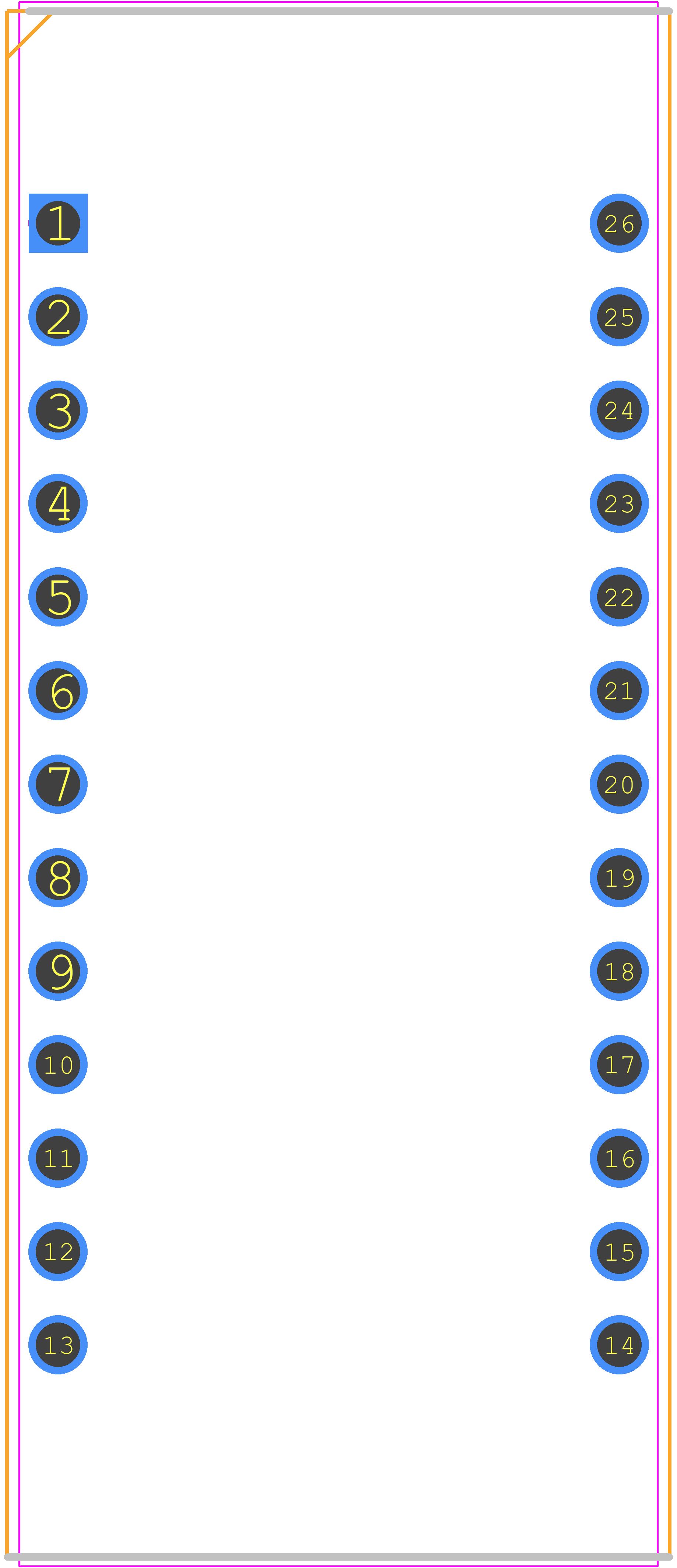 PCB footprint for Adafruit 1602 - Header, Vertical