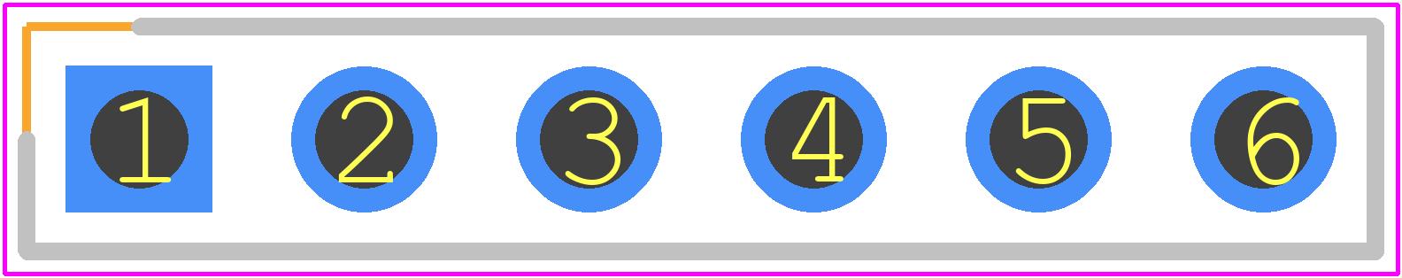 90120-0766 - Molex PCB footprint - Header, Vertical - My 1x6 Single Row Straight Pin Header