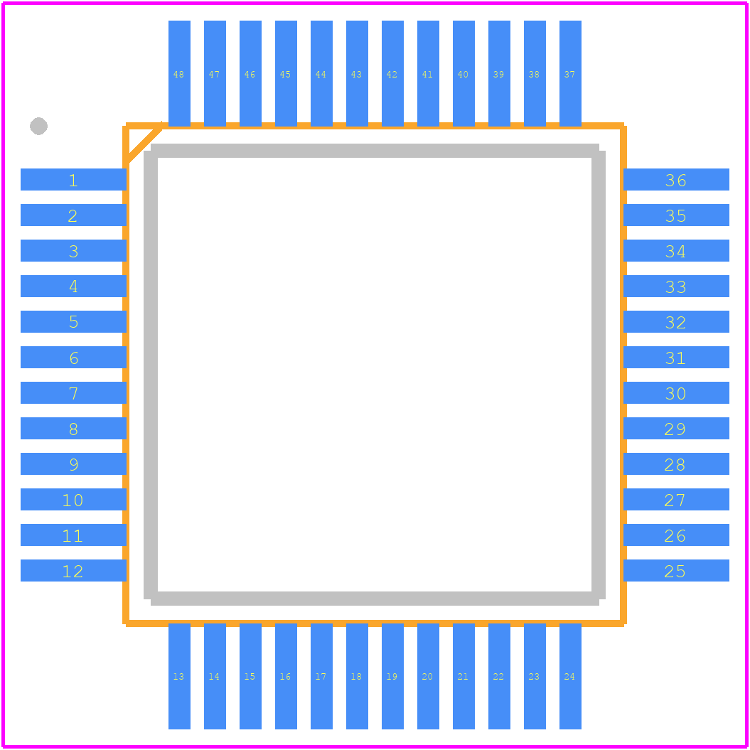 AD1934YSTZ - Analog Devices PCB footprint - Quad Flat Packages - ST-48 (LQFP)