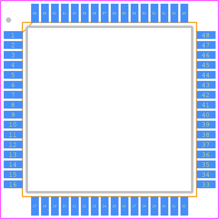 PCB Footprint for ATMEGA128A-AU