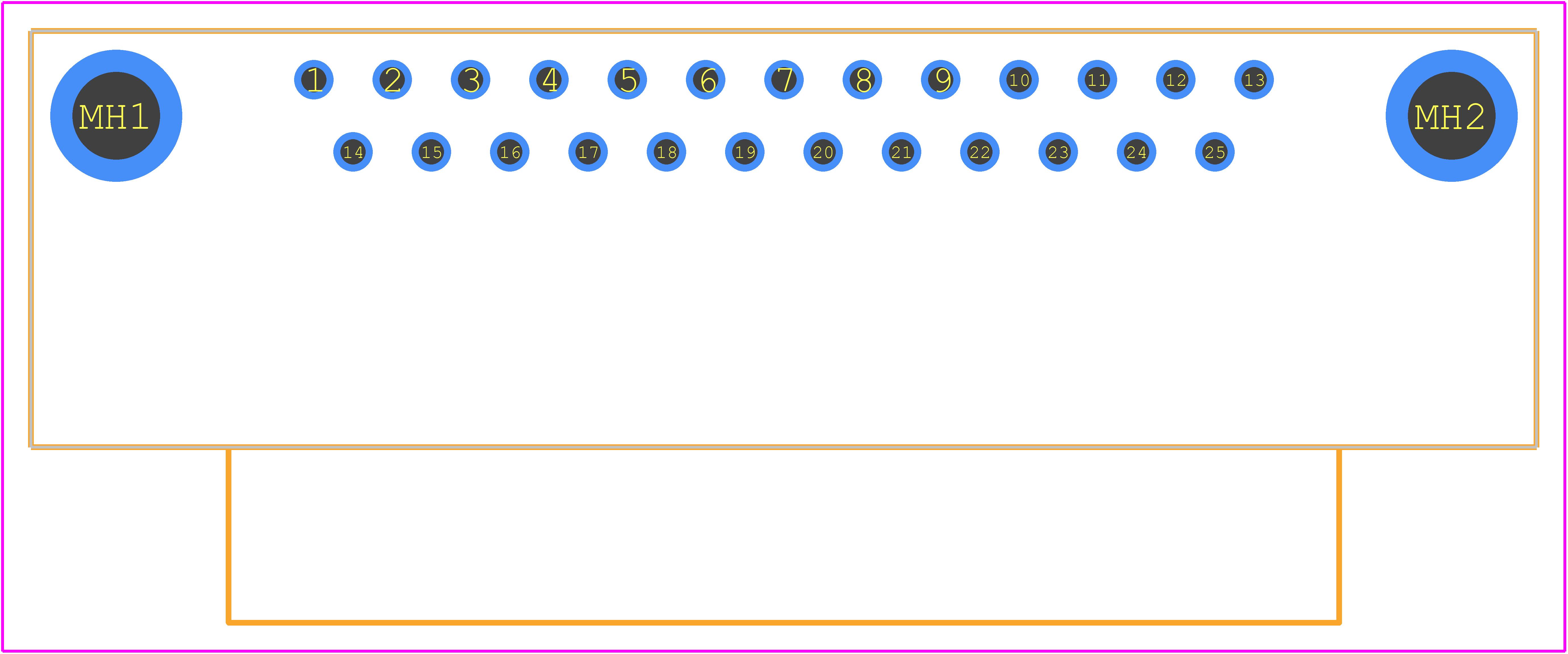 D25S13A4PL00LF - FCI PCB footprint - Other - D25S13A4PL00LF
