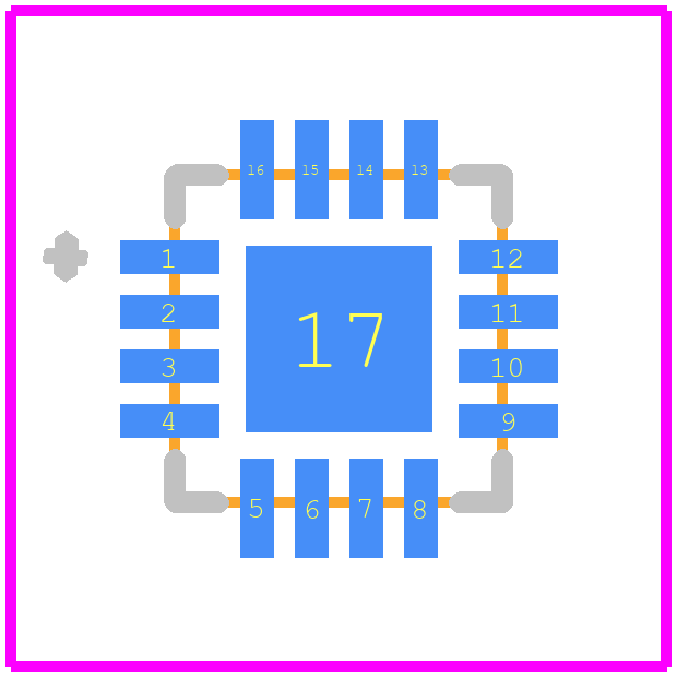 A3918SESTR-T - Allegro Microsystems PCB footprint - Quad Flat No-Lead - ES Package, 16-Contact QFN with Exposed Thermal Pad