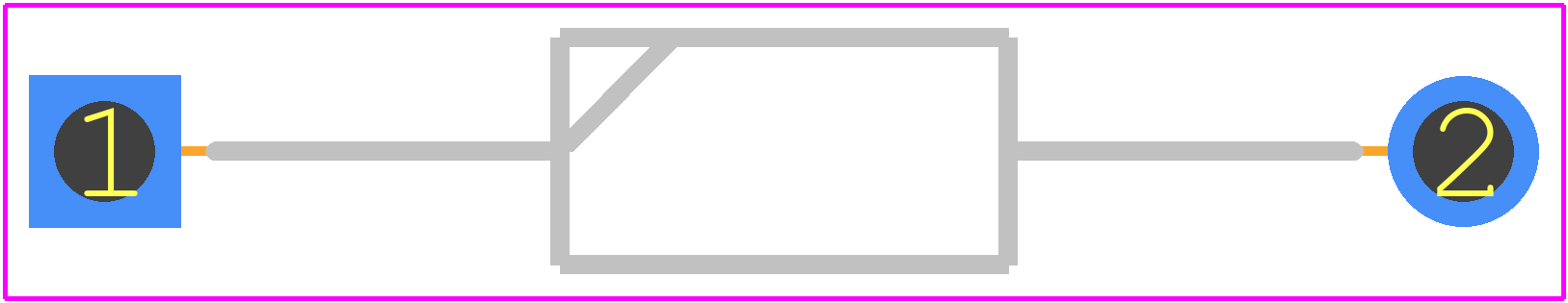 1N4001-E3/54 - Vishay PCB footprint - Diodes, Axial Diameter Horizontal Mounting - DO-204AL (DO-41)