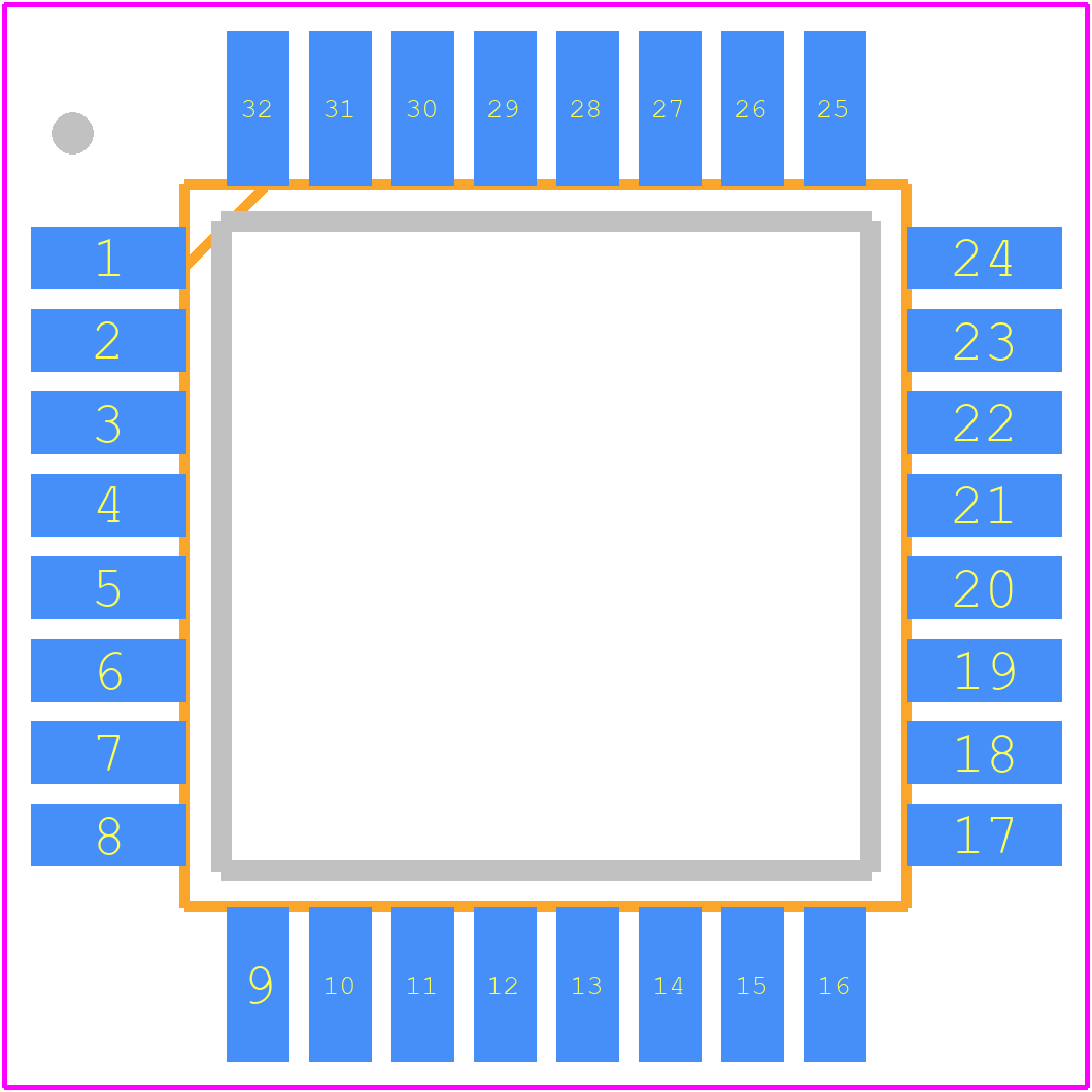 PCB footprint for Microchip ATmega8-16AU - Quad Flat Packages