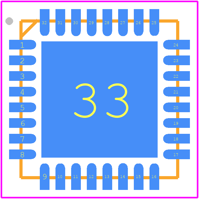 SLB9670VQ12FW641XUMA1 - Infineon PCB footprint - Quad Flat No-Lead - PG-VQFN-32-13