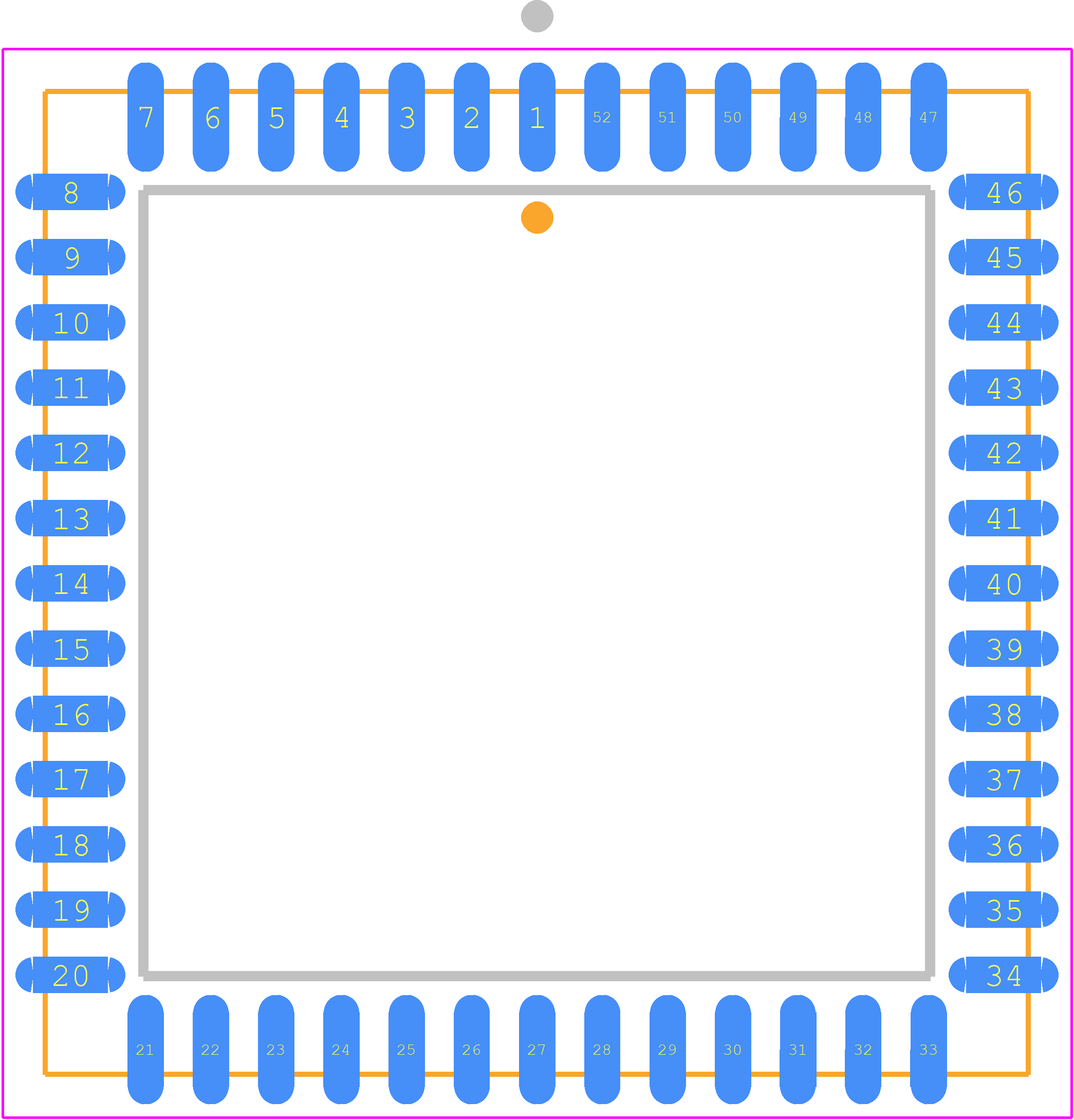 PCB footprint for IDT, Integrated Device Technology Inc 7140SA100J8 - Plastic Leaded Chip Carrier