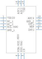 LIS3DHTR - STMicroelectronics - PCB symbol
