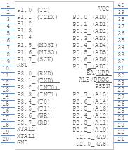 AT89S52-24PU - Microchip - PCB symbol