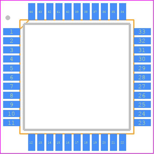 PIC18F47K42-I/PT - Microchip PCB footprint - Quad Flat Packages - (PT)44-Lead(TQFP)