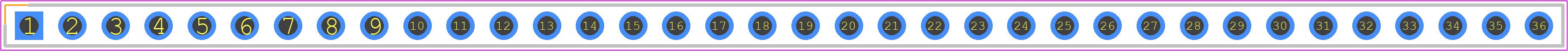 68000-136 - FCI PCB footprint - Header, Vertical - 68000-136