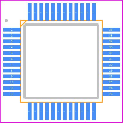 STM32F030C8T6 - STMicroelectronics PCB footprint - Quad Flat Packages - LQFP48