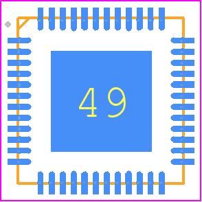 C8051F970-A-GM - Silicon Labs PCB footprint - Quad Flat No-Lead - QFN-48 Package (6x6 mm)