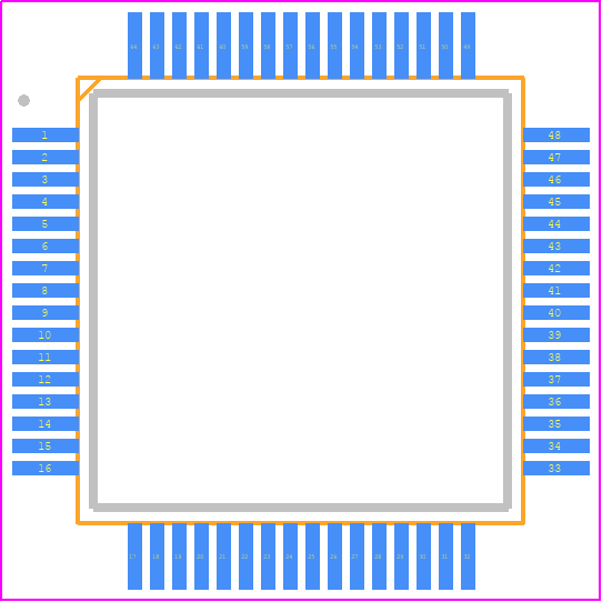 STM32F401RET6U - STMicroelectronics PCB footprint - Quad Flat Packages - LQFP64-10 x 10 mm 64 pin