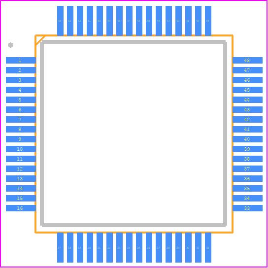 FT4232HL - FTDI Chip PCB footprint - Quad Flat Packages - LQFP-64