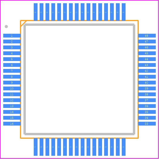 STM32F091RCT6 - STMicroelectronics PCB footprint - Quad Flat Packages - LQFP, 10 X 10 X 1.4 PKG, 0.5 PITCH, 64LD
