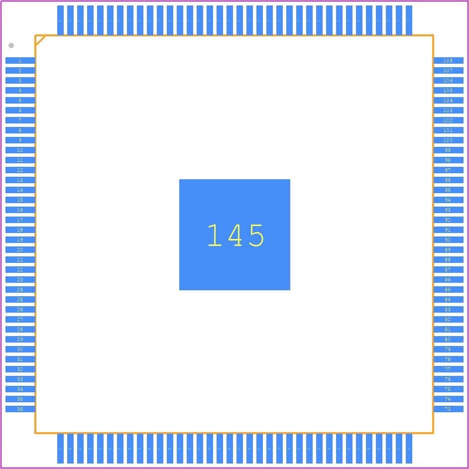EP4CE6E22C8N - Intel PCB footprint - Quad Flat Packages - EQFP (A:1.65 - D2:4.00)