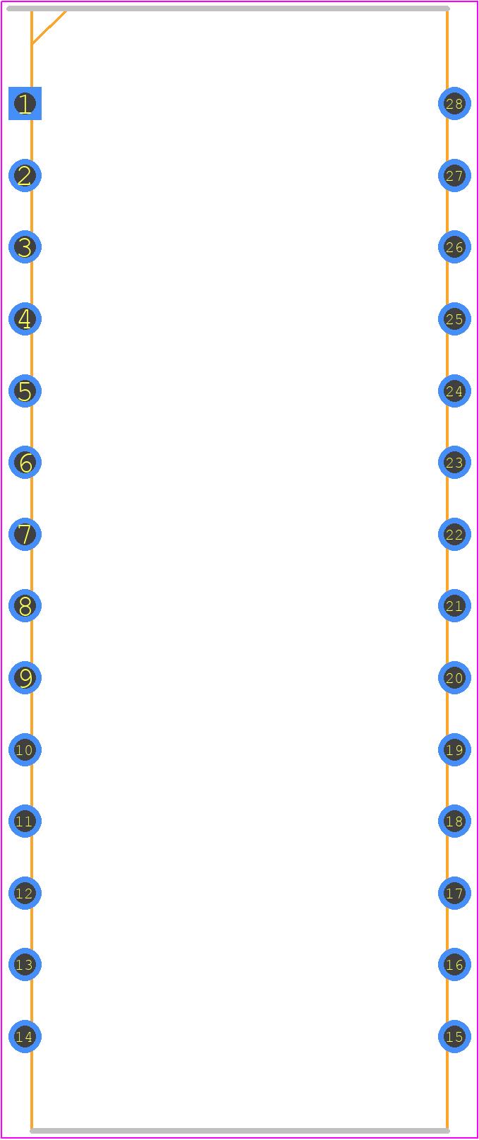 IR2130PBF - Infineon PCB footprint - Dual-In-Line Packages - 28-Lead PDIP (wide body)