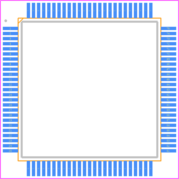 STM32F103VET6 - STMicroelectronics PCB footprint - Quad Flat Packages - ST LQFP100