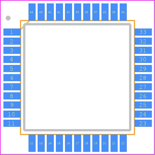 ATMEGA32-16AU - Microchip PCB footprint - Quad Flat Packages - TQFP 44A