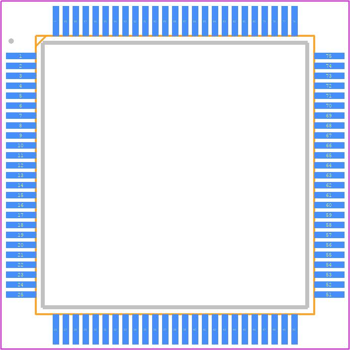 ATMEGA2560-16AU - Microchip PCB footprint - Quad Flat Packages - TQFP 100A