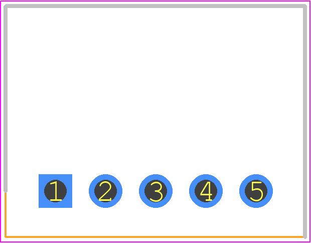 S5B-XH-A(LF)(SN) - JST (JAPAN SOLDERLESS TERMINALS) PCB footprint - Header, Shrouded - S5B-XH-A