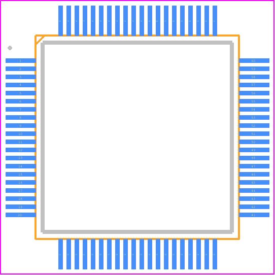 W5100 - WIZnet Inc PCB footprint - Quad Flat Packages - 80-Pin LQFP