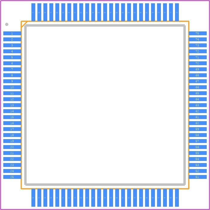 STM32H743VIT6 - STMicroelectronics PCB footprint - Quad Flat Packages -  LQFP100