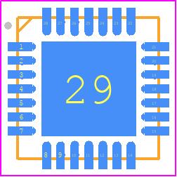 CP2102N-A01-GQFN28R - Silicon Labs PCB footprint - Quad Flat No-Lead - CP2102N-A01-GQFN28R