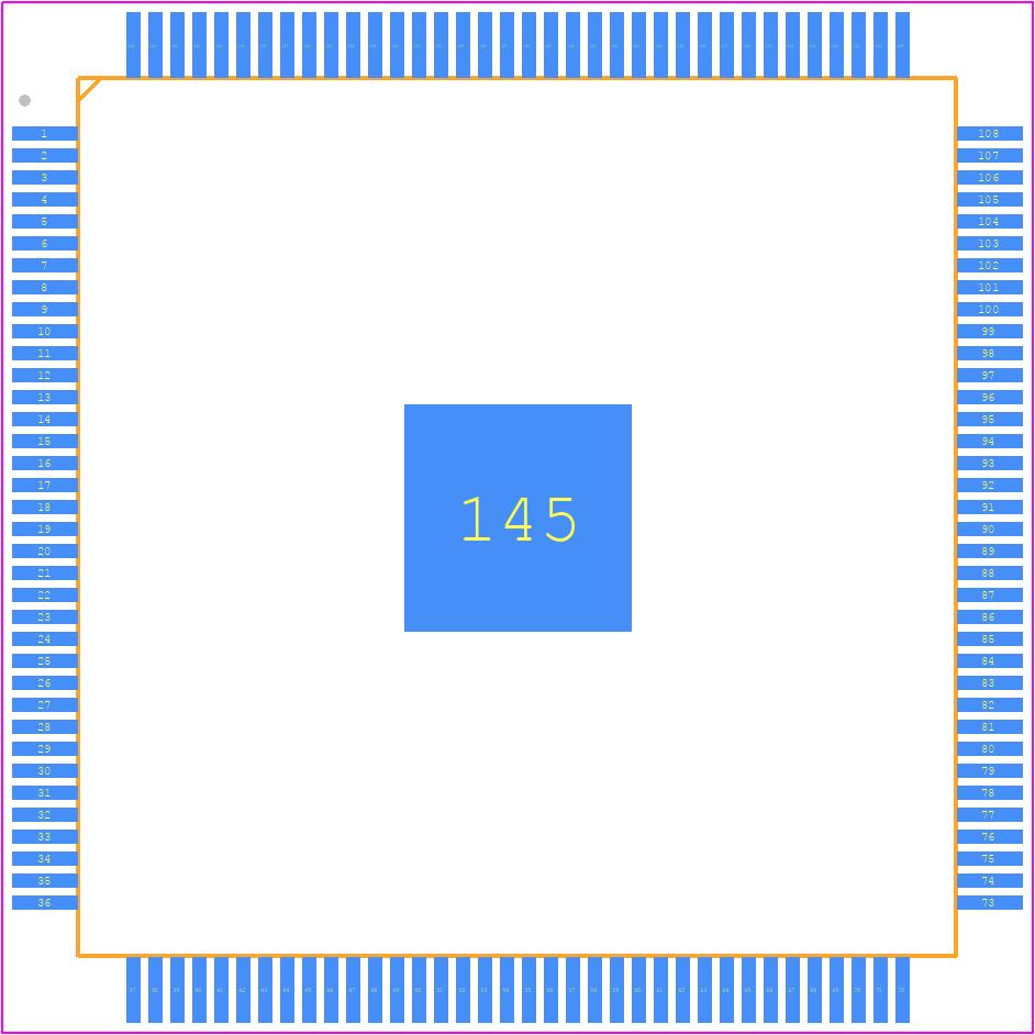 10M08SAE144C8G - Intel PCB footprint - Quad Flat Packages - 144-Pin Plastic Enhanced Quad Flat Pack - Wire Bond