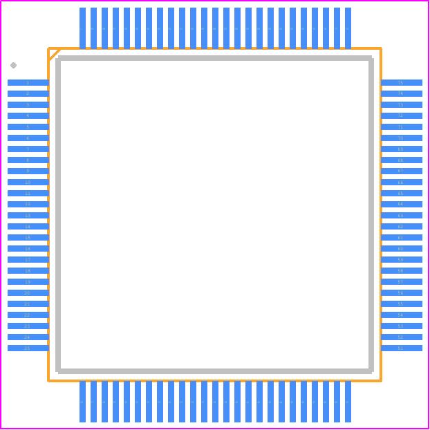 PIC32MK0512GPE100-E/PT - Microchip PCB footprint - Quad Flat Packages - 100 LEAD PTQF (PT) 12X12X1
