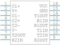 MAX232ECSE+ - Maxim Integrated - PCB symbol