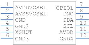 VL53L1CXV0FY/1 - STMicroelectronics - PCB symbol