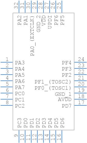 ATMEGA3208-AFR - Microchip - PCB symbol