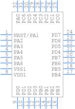 STM8L151K6T6 - STMicroelectronics - PCB Footprint & Symbol