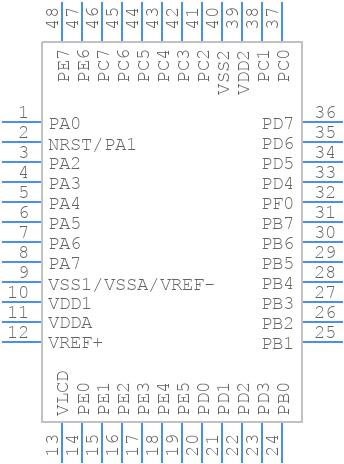 STM8L152C6T6 - STMicroelectronics - PCB Footprint & Symbol