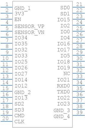 ESP32-WROOM-32D (8MB) - Espressif - PCB symbol