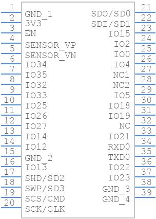 ESP32-WROVER-B (16MB) - Espressif - PCB symbol