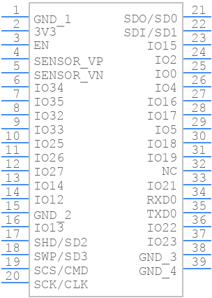 Symbol for ESP32-WROOM-32D (16MB)