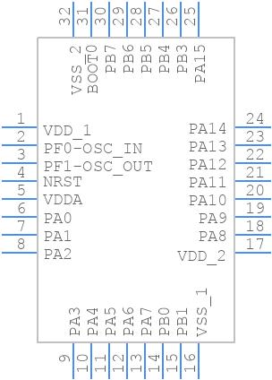 STM32F030K6T6 - STMicroelectronics - PCB symbol