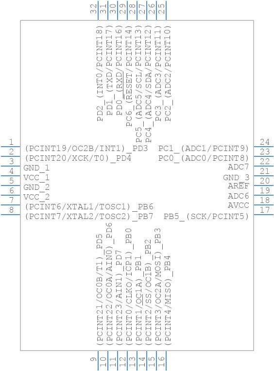 ATMEGA168-20AU - Microchip - PCB symbol