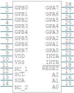 MCP23017-E/SP - Microchip - PCB symbol