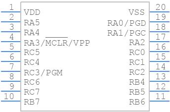 PIC18F14K22-I/P - Microchip - PCB symbol