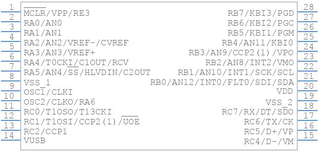 PIC18F2550-I/SP - Microchip - PCB symbol